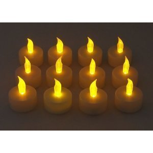 12 Battery Operated AMBER LED Tealight Candles Flameless Heatless No Heat Candle Flickering Wickless Led Long Lasing Life Faux Wedding Holiday Christmas Thanksgiving Party Light Dozen