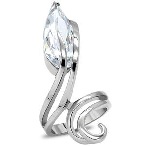 RIGHT HAND RING - Bypass Style High Polished Stainless Steel with Clear Pear Cut CZ Ring