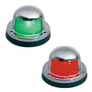 Amarine-Made Pair Of Stainless Steel Red And Green Bow Navigation Lights For Boats - 1 Mile
