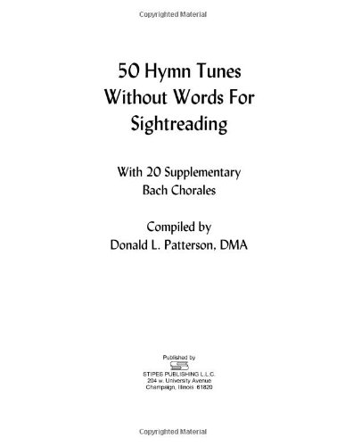 50 Hymn Tunes Without Words for Sightreading: With 20 Supplementary Bach Chorales PDF