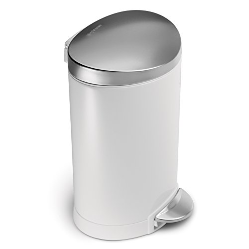 simplehuman Mini Semi-Round Step Trash Can, White Steel, 6 L / 1.6 Gal (Simplehuman Round Step Trash Can compare prices)