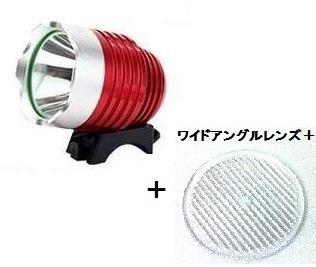 【正規輸入品】SimPretty_HighClass USB電源が使える超強力ライト! 光量を損なわず横への広角照射を実現した進化形ワイドアングルレンズ+付属(ギザギザ) 900ルーメン(市販の1200ルーメン相当) CREE XML-T6 超高輝度LED 防水 充電自転車ヘッドライト 自転車ライト+ヘッドライト2in1機能! 明るさは2段階で調節可能! 各種モバイルバッテリー対応! サイクリング・アウトドア・夜釣りなど、夜間の野外活動に最適! 900LM 1200LM moblile battery サイクルヘッドライト USB接続タイプ (レッド)
