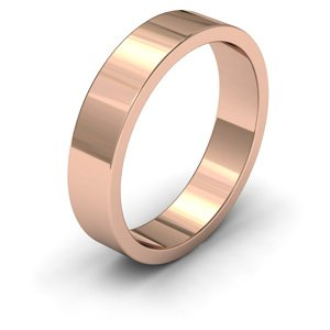 9ct Rose Gold, 5mm Wide, Flat Shape Heavy Weight Wedding Ring - Size Q