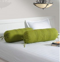 Swayam Drape And Dream Cotton 2 Piece Bolster Cover Set - Green (BC02)