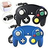 Poulep 2 Pack Classic Wired Gamepad joystick Controllers for Wii Game Cube Gamecube (Black and Blue) (Color: Black and Blue)