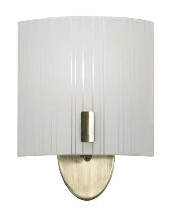 Oaks Lighting Zafra Antique Brass Wall Light with Striped Curved Glass Shade/ 1 Light