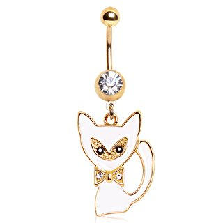 Clear Crystal Gold Plated White Cat & Bow Tie With Black Crystal Eyes Dangle Belly Bar Navel Ring