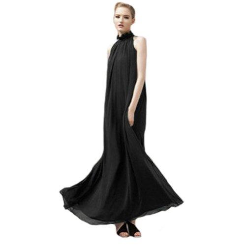 Summer-Chiffon-Ruffle-Neck-Sleeveless-Evening-Ball-Gown-Long-Maxi-Dress