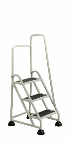 Cramer 1031R-19 Stop-Step Ladder 3 Steps with Right Handrail 27-inch High Top Step, Beige