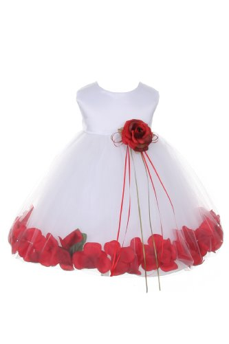 Satin Bodice Flower Baby Girl Pageant Petal Dress: White/Red - Infant M