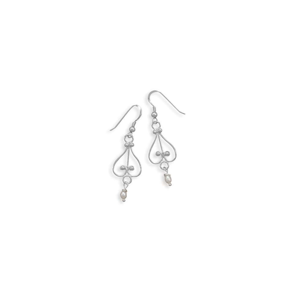 Scroll Wire Earrings with Beaded Design and Tiny Pearl Drop Sterling Silver Dangle Earrings Jewelry