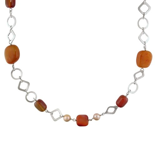 Fresh Water Pink Pearl and Red Agate Necklace (7-8 mm)