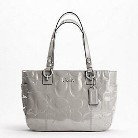 Coach Patent Embossed Signature Gallery Book Bag Purse Tote 17728 Gray