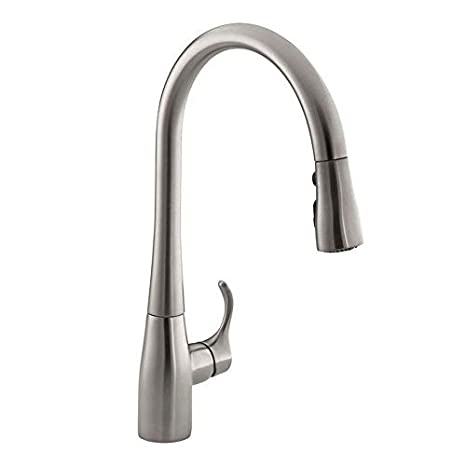 KOHLER Simplice 1 or 3-Hole Single Handle Pull-Down Sprayer Kitchen Faucet in Vibrant Stainless with DockNetik and Sweep Spray