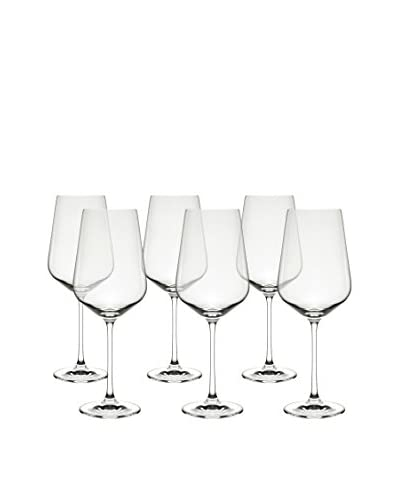 10 Strawberry Street Set of 6 Hong Kong Hip Bordeaux Wine Glasses, Clear