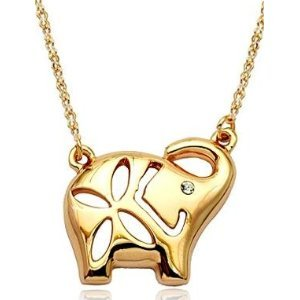 18K Gold Plated CZ Elephant Pendant Necklace 18