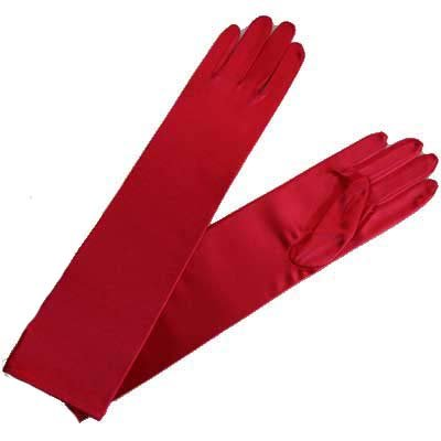Buy LONG RED SATIN 1/2 ARM ELBOW LENGTH EVENING GLOVES