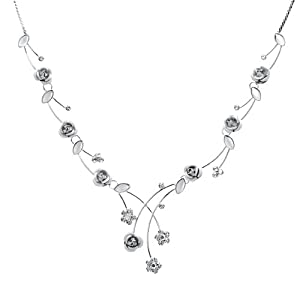 Glamorousky Elegant Rose Necklace with Silver Swarovski Element Crystals and Crystal Glass (965)