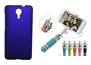 Toppings Hard Case Cover With Mini Selfie Stick For Micromax Canvas Xpress 2 E313 - purple