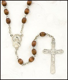 Men or Boys Light Brown Oval Bead Rosary, Wood