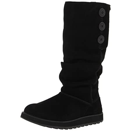 Chilly days are perfect for the Skechers Keepsakes Brrrr boot. This women's pull-on boot features a suede upper with a faux fur lining. The slouched shaft design includes three buttons on the side that accommodate a fold-down top cuff. The cushioned ...