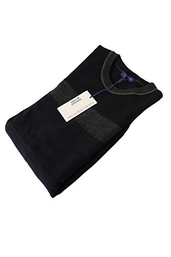 trussardi-mens-crewneck-sweater-size-s-us-regular-striped-blue-wool