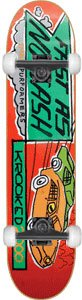 Krooked Racing Small Complete Skateboard - 7.56 w/Essential Trucks