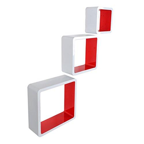 3er Set Lounge Regal Cube Design Bücherregal Retro CD DVD Wandregal Weiß Rot