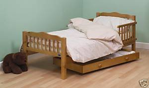 CITY COLLECTION ANTIQUE CHILD'S / TODDLER BED WITH FOAM MATTRESS, DUVET, PILLOW + BEIGE GINGHAM COVERS