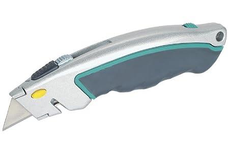 Wolfcraft 4131000 1x Schnellwechsel-Profi-Messer mit einziehbarer Klinge / 5 Ersatzklingen / Klingenwechsel durch Knopfdruck / Sicherheits-Kordel-Schneider
