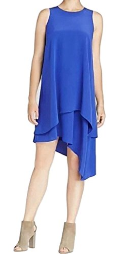 Eileen Fisher Plus Silk Crepe de Chine Tiered Asymmetrical Dress 2X Adriatic Blue