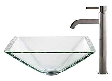 Kraus C-GVS-901-19mm-1007SN Clear Aquamarine Glass Vessel Sink and Ramus Faucet Satin Nickel