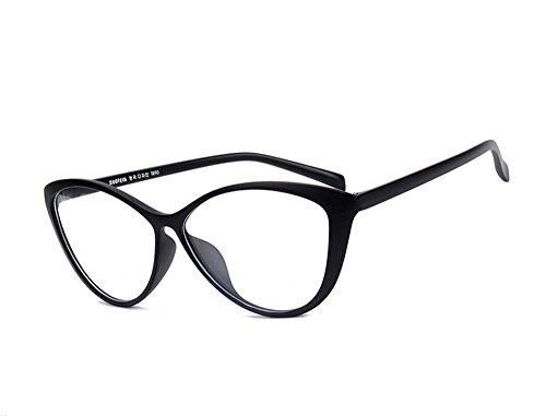 Agstum Ladies Womens Cat eye TR90 Glasses Frames Optical Eyeglasses 59mm (Black, 59mm)