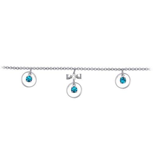 Zircon Blue Gem Circular Drop Bow Belly Chain