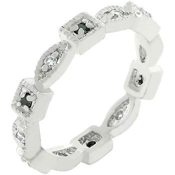 White Gold Rhodium Bonded Interlinked Square and Oval with Milligrain Finish, Black and Clear Cz Eternity Ring in Silvertone Women's Jewelry (8)