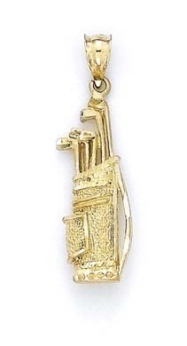 14k Golf Bag Clubs Pendant - JewelryWeb