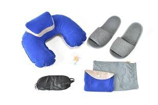 車 飛行機 新幹線 トラベルクッション 耳栓 アイマスク 収納袋 スリッパ 4点 セット 旅行用 枕 クッション (青 ブルー)