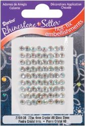 Darice Rhinestone Setter Hot Fix Embellishments 4mm Crystal AB Glass Stone 72/Pkg 2704-4MM-36; 6 Items/Order