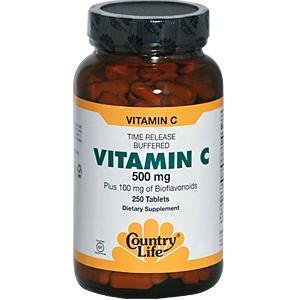 Country Life Buffered Vitamin C Rh 500 Mg And Citrus Bioflavonoids 100 Mg (Tr), 250-Count