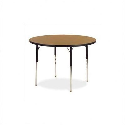 "4000 Series 36"" Round Activity Table with Short Legs Color: Medium Oak, Glides: Steel Glides Not Included"