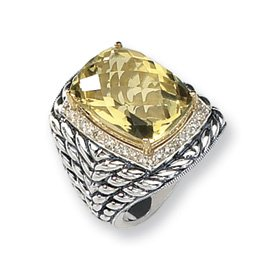 Sterling Silver 14ct Rough Diamond Lemon Quartz Ring - Ring Size Options Range: L to P