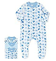 3 Pack Pure Cotton Car Print Sleepsuits