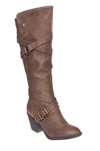 Snaps Mid Heel Tall Boot