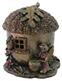 2.5 Inch Hand Painted Resin Fairy Acorn House Trinket Box, Bronze