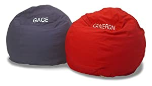 Bean Bag Chair Kid Size 20 colors Personalized Monogram Embroidered Comfy Bean, 100% 10 oz Cotton Remove-Wash Cover - Proudly handmade in Chicago, USA. from Bean Products