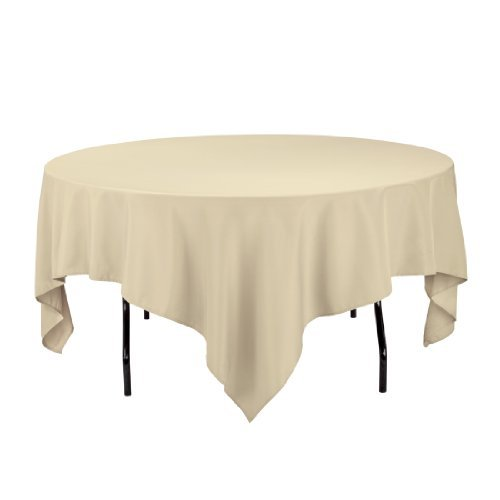 linentablecloth 85 inch square polyester tablecloth white