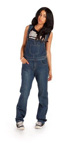 Womens Fashion Bib Overalls Denim Blue Relaxed Fit Dark Wash (Wom88) front-952689