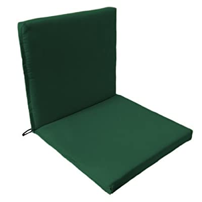 Garden Chair 2 Part Seat Pad / Cushion in Green, Fits Securely with Tie Strings and Elasticated Pull Over on Back . Great for Indoors and Outdoors, Made from High Quality Water Resistant Material.