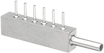 Stainless Steel Hypodermic Tube Fitting, Manifold, Inlet - 9 Gauge, 6 Outlets- 18 Gauge