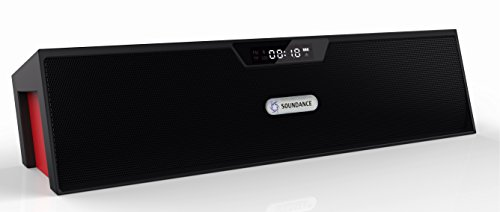 Soundance Portable Wireless Bluetooth Stereo Speaker With Dual Speakers And Enanced Bass Resonator, Fm Radio, Built-In Mic, Led Display, Alarm Clock, 3.5 Mm Audio Jack, Support Tf Card/Micro Sd Card And Usb Input, Up To 35Ft Bluetooth Range, Up To 8 Hours